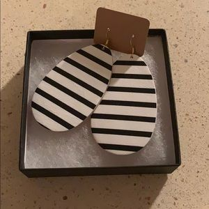 Striped Leather Earrings (New)